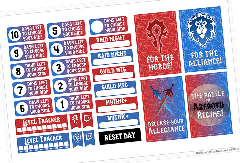 World of Warcraft Digital Planner Sticker Freebies