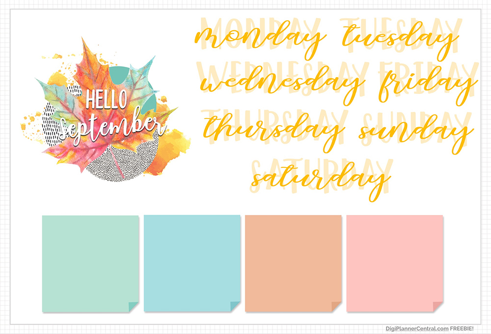 September Digital Planner Freebie Stickers