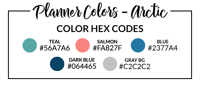 Arctic Digital Planner Hex Codes