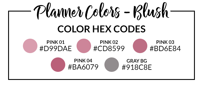 Blush Digital Planner Hex Codes