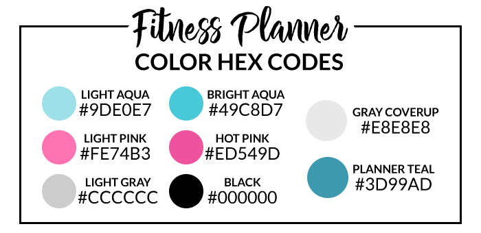 Fitness Planner Hex Codes
