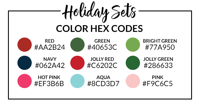 Holiday Planner & Sticker Set Hex Codes
