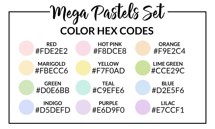 Mega Pastels Hex Codes