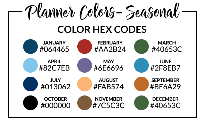 Seasonal Digital Planner Hex Codes