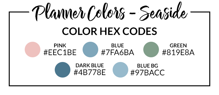 Seaside Digital Planner Hex Codes
