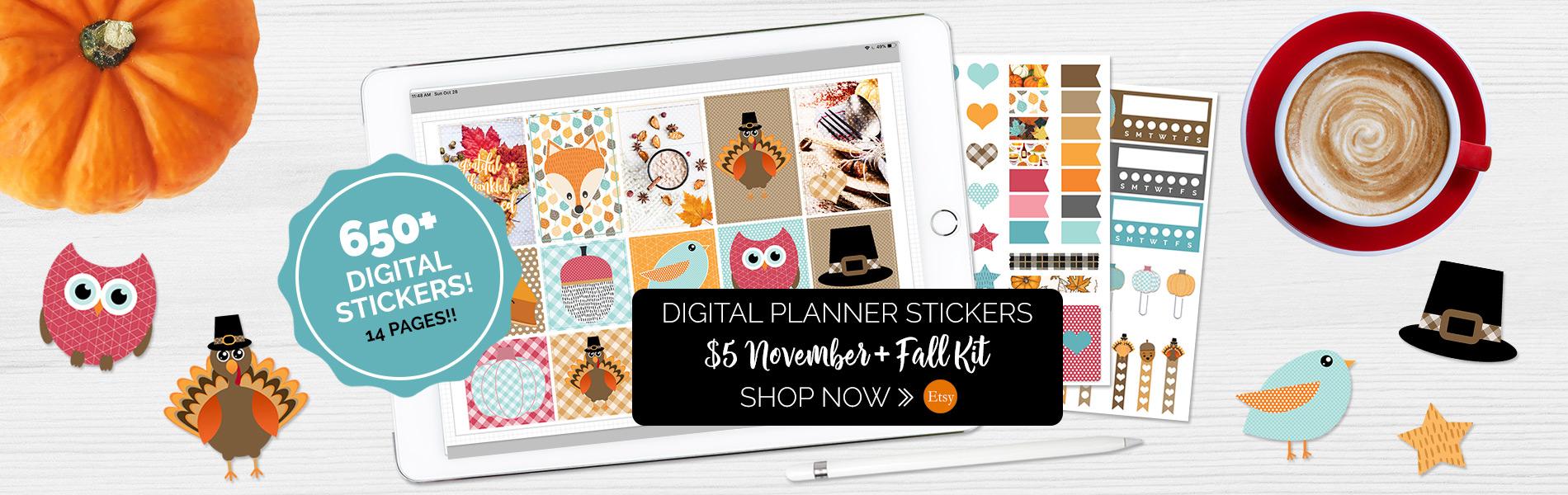 November Digital Planner Sticker Set | @DigiPlannerCentral