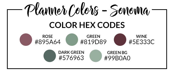 Sonoma Digital Planner Hex Codes