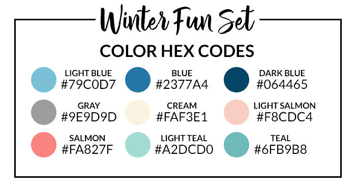 Winter Fun Sticker Set Hex Codes