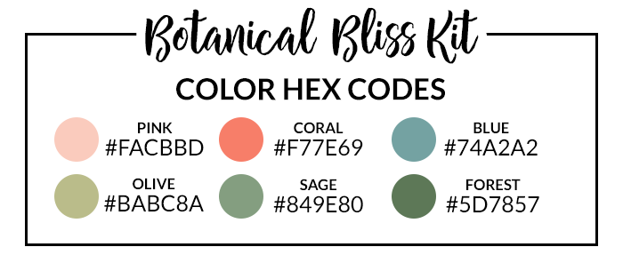 Botanical Bliss Sticker Set Hex Codes