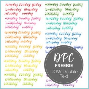 Digital Planner Days of the Week Double Text Freebie Stickers | @DigiPlannerCentral