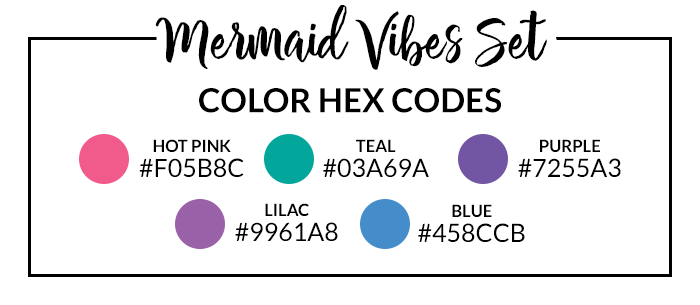 Mermaid Vibes Sticker Set Hex Codes