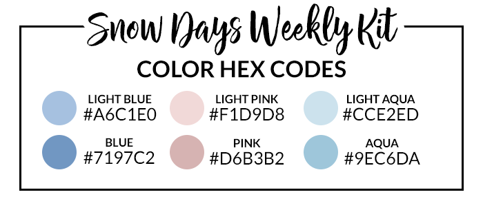 Snow Days Sticker Set Hex Codes