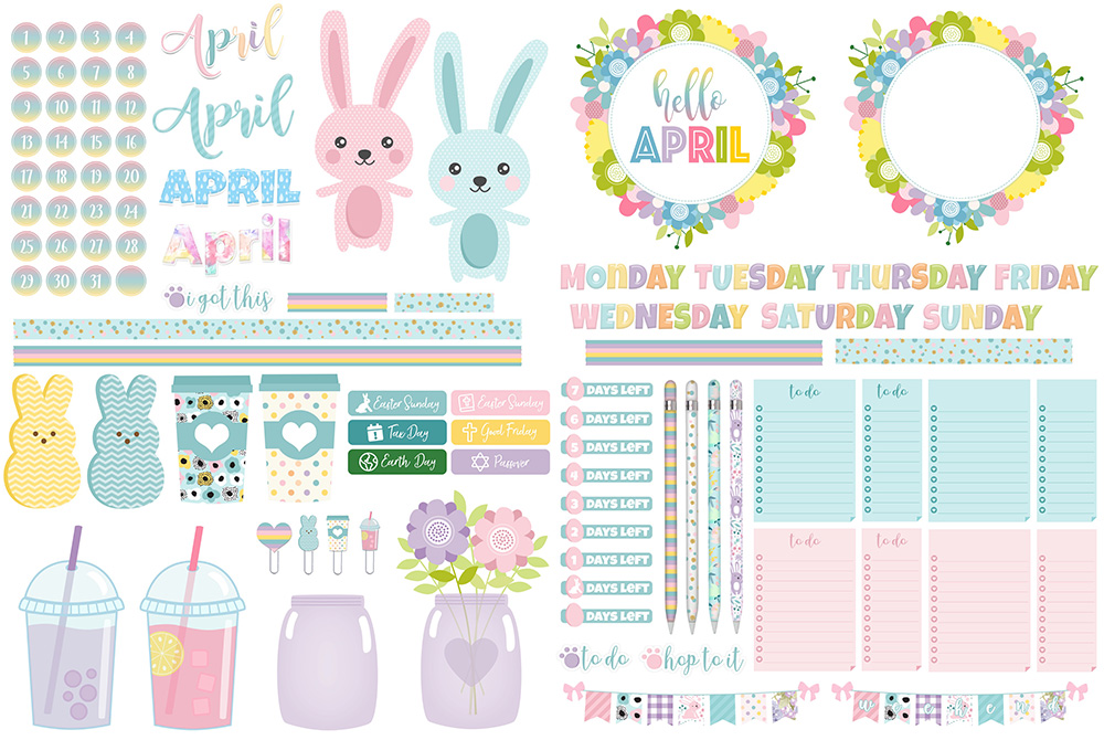 April Digital Planner Sticker Freebies | @DigiPlannerCentral