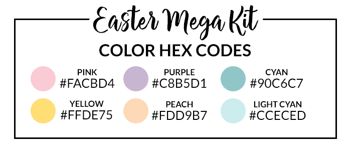 Easter Mega Digital Sticker Set Hex Codes
