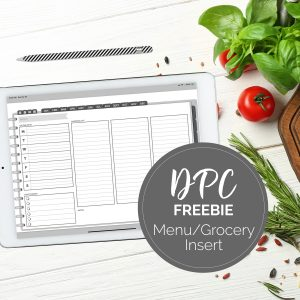 Menu & Grocery Insert for DPC Landscape Digital Planners | @DigiPlannerCentral