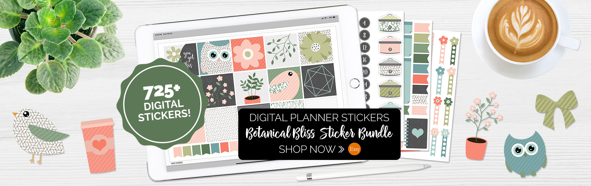Botanical Bliss Digital Planner Sticker Set