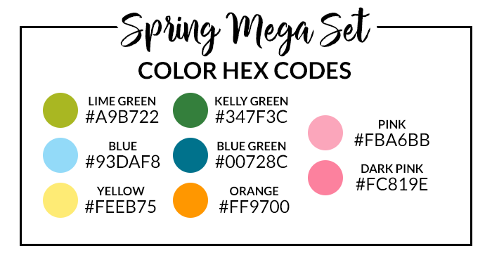Spring Mega Digital Sticker Set Hex Codes