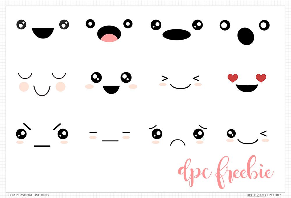 Kawaii Faces Digital Sticker Freebies | @DPCDigitals