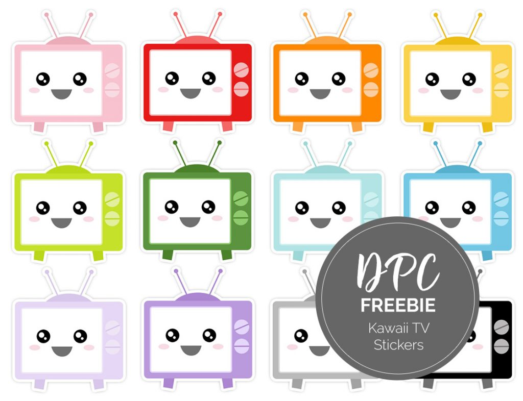 Kawaii TVs Digital Sticker Freebies | @DigiPlannerCentral