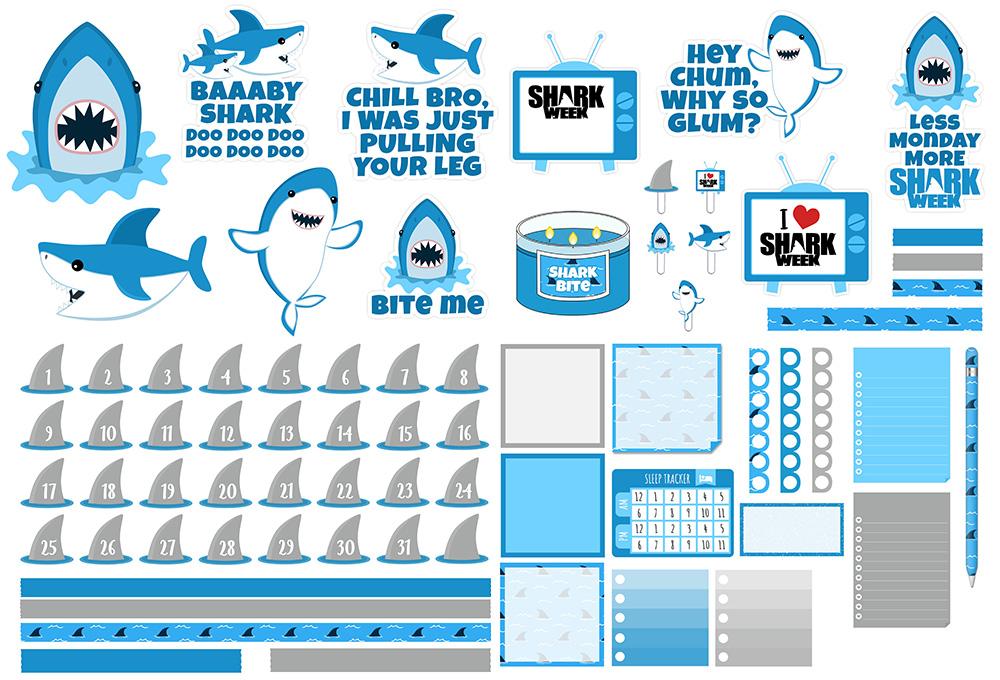 Shark Week Freebie Kit  | @DPCDIgitals