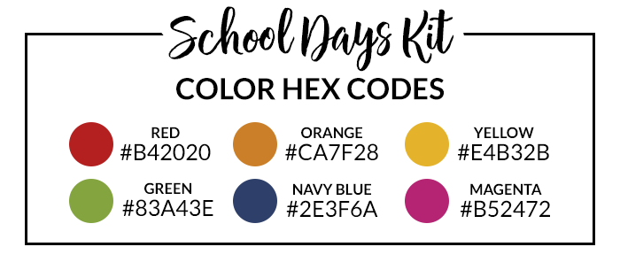 School Days Hex Codes | @DPCDigitals