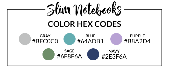 Slim DIY Digital Notebooks Hex Codes | DPC Digitals