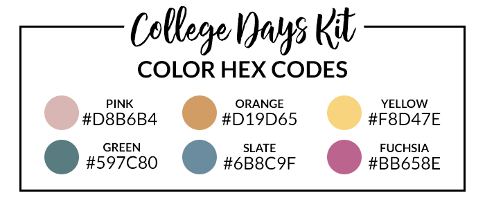 College Days Hex Codes