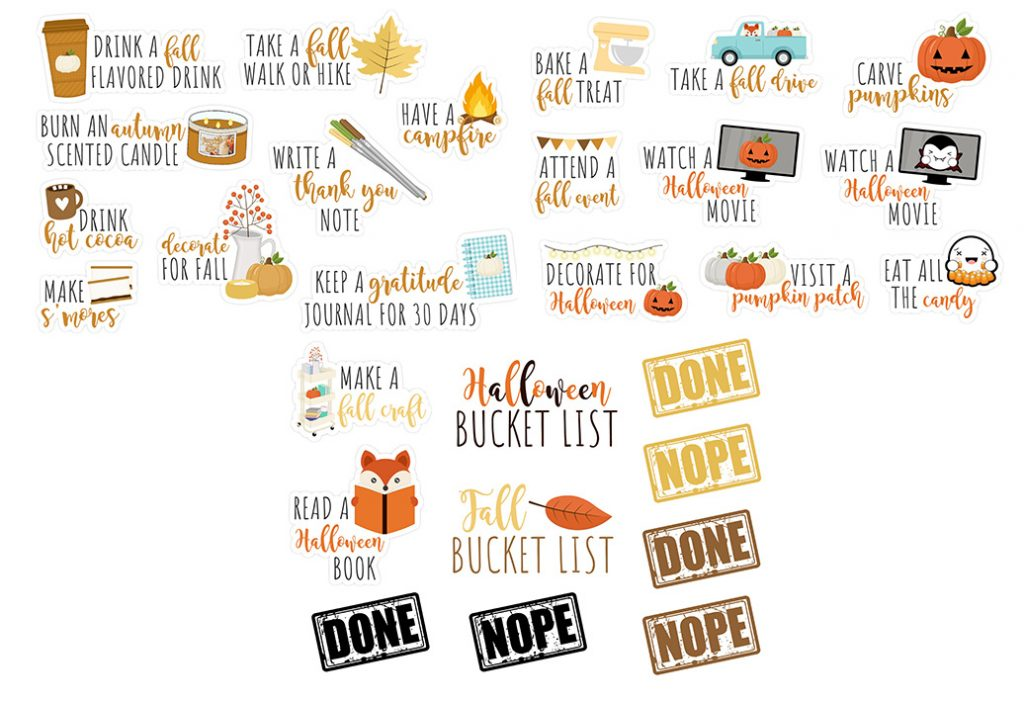 Fall Bucket List Digital Stickers Freebie Kit | GoodNotes, iPad, Android  | @DPCDIgitals