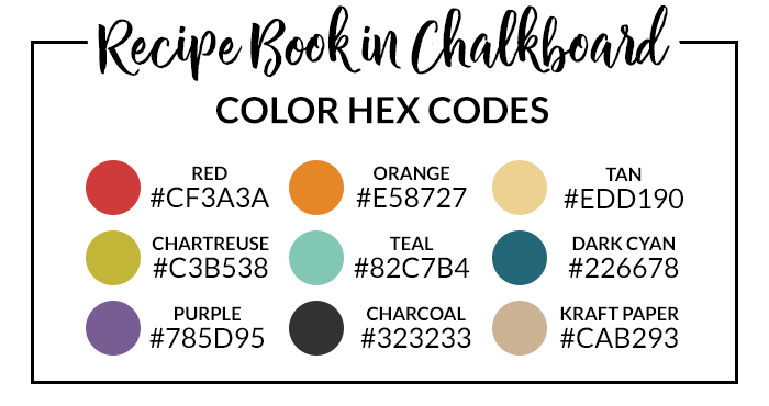 Rainbow Recipe Book Hex Codes