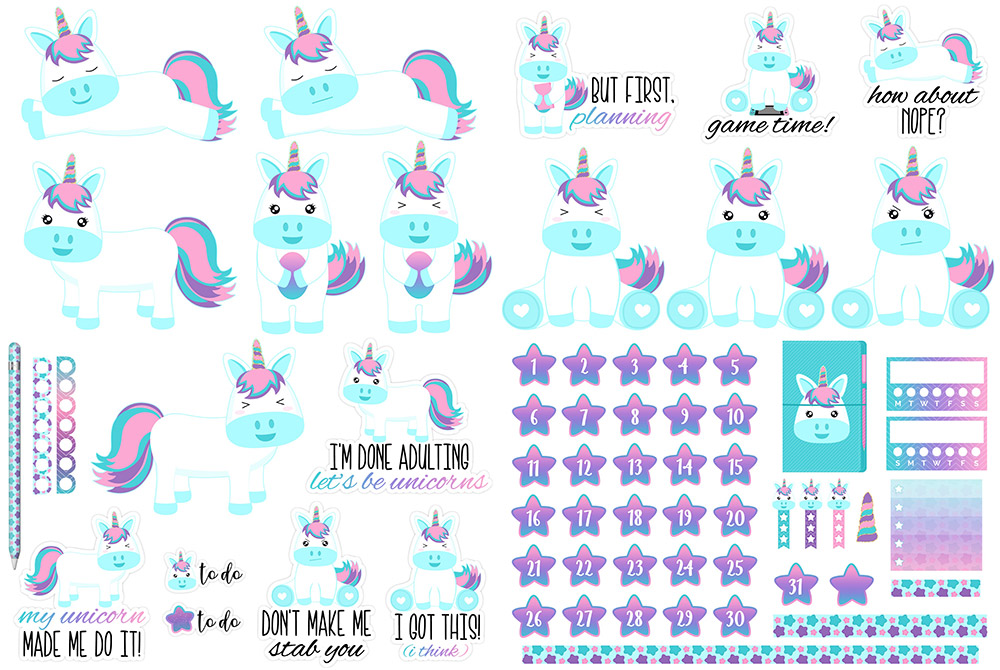 Retro Unicorn Digital Sticker Freebie | @DPCDigitals