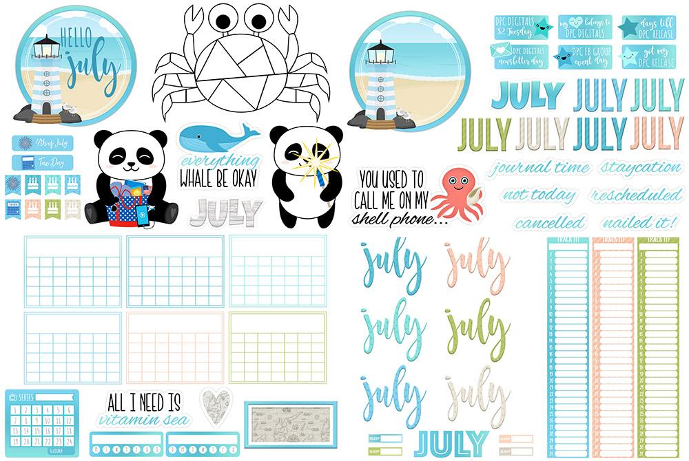 DPC Digitals July Freebie Sticker Set