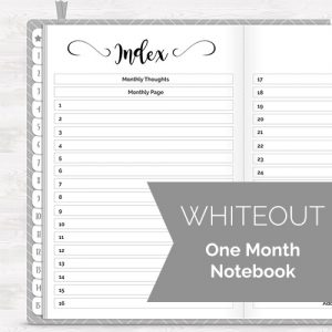 One Month Whiteout Digital Notebook Planner @DPCDigitals
