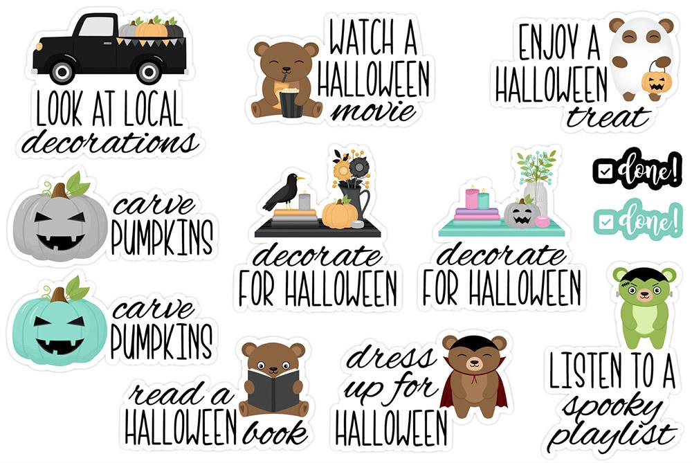 Halloween Bucket List Digital Stickers Freebie | @DPCDigitals
