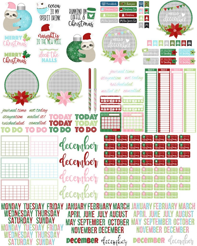 DPC Digitals December Freebie Sticker Set