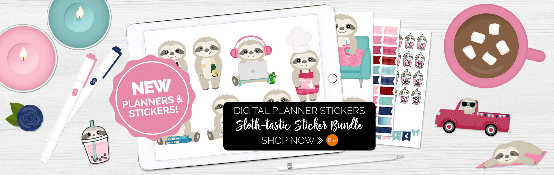 Slothtastic Digital Stickers | @DPCDigitals