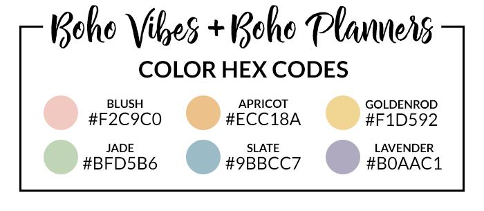 Boho Vibes Hex Codes