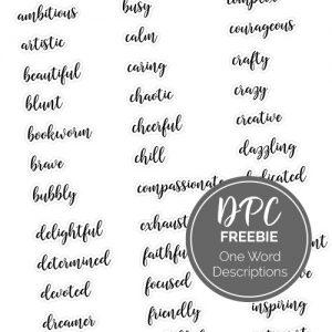 DPC One Word Descriptions Freebie   @DPCDigitals